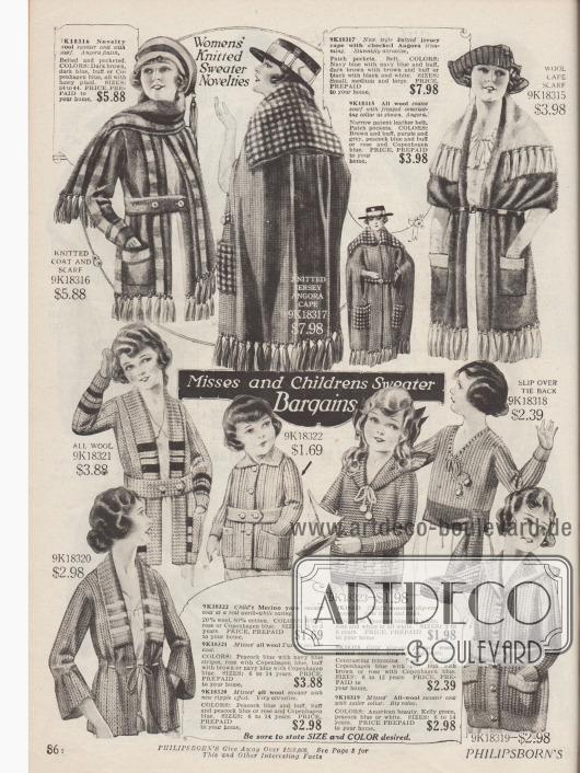 Pullover, Stickjacken, Capes und Schals aus reiner Wolle, Wollmixstoffen und einer Jersey Angora Mischung für Mädchen und junge Frauen. Die Jacken für Damen besitzen große Capes oder werden mit einem Schal getragen. Quasten zieren die Jackensäume und Capes.