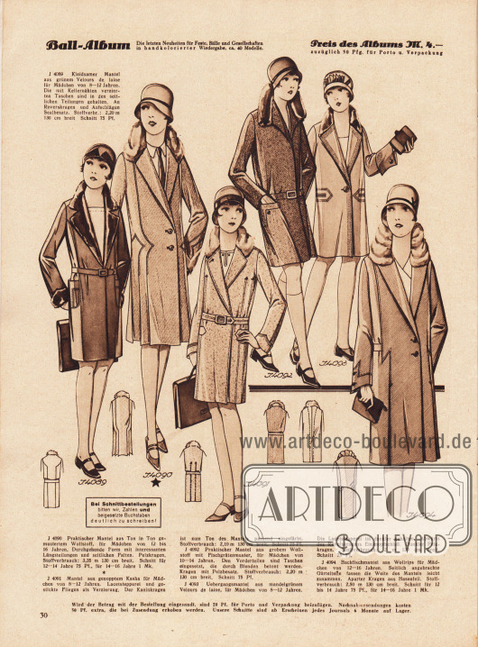 4089: Kleidsamer Mantel aus grünem Velours de laine für Mädchen von 8 bis 12 Jahren. Die mit Kellernähten verzierten Taschen sind in den seitlichen Teilungen gehalten. An Reverskragen und Aufschlägen Sealbesatz. 4090: Praktischer Mantel aus Ton in Ton gemustertem Wollstoff, für Mädchen von 12 bis 16 Jahren. Durchgehende Form mit interessanten Längsteilungen und seitlichen Falten. Pelzkragen. Schnitt für 12 bis 14 Jahre 75 Pf., für 14 bis 16 Jahre 1 Mk. 4091: Mantel aus genopptem Kasha für Mädchen von 8 bis 12 Jahren. Lacetstepperei und gestickte Fliegen als Verzierung. Der Kaninkragen ist zum Ton des Mantels passend eingefärbt. 4092: Praktischer Mantel aus grobem Wollstoff mit Fischgrätenmuster, für Mädchen von 10 bis 14 Jahren. Den Vorderteilen sind Taschen eingesetzt, die durch Blenden betont werden. Kragen mit Pelzbesatz. 4093: Übergangsmantel aus mandelgrünem Velours de laine, für Mädchen von 8 bis 12 Jahren. Die Lacetstepperei ist dunkler gehalten. Abwärts des Reverskragens Einknopfschluß. Dunkler Pelzkragen. 4094: Backfischmantel aus Wollrips für Mädchen von 12 bis 16 Jahren. Seitlich angebrachte Gürtelteile fassen die Weite des Mantels leicht zusammen. Aparter Kragen aus Hasenfell. Schnitt für 12 bis 14 Jahre 75 Pf., für 14 bis 16 Jahre 1 Mk.