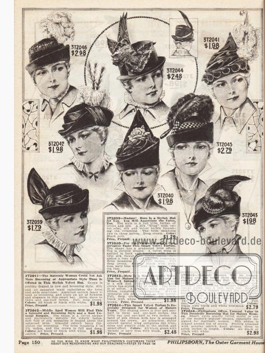 Eher dezent gehaltene Hüte und Turbane aus Seide, Satin und vor allem Samt speziell für die ältere Dame. Seidenbänder, Straußenfedern, überhaupt Federnschmuck, Seidenblüten und Samtblätter dienen als Zierrat.Auffällig ist, dass im Vergleich zu den Hüten für jüngere Frauen die Hüte für ältere Damen in einem konservativeren Stil gehalten sind.