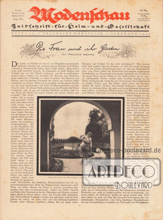 """Titelblatt mit einem Foto von """"Käthe Dorsch [deutsche Schauspielerin, 1890-1957] bei der Gartenarbeit in ihrem Sommerheim in Saarow-Pieskow."""" Artikel: Wentz, Paulina, Die Frau und ihr Garten."""
