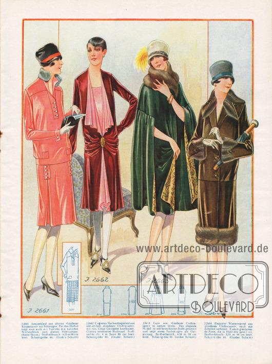 V.l.n.r.: Jumper, elegantes Nachmittagskleid, Cape und Mantel für den Herbst.