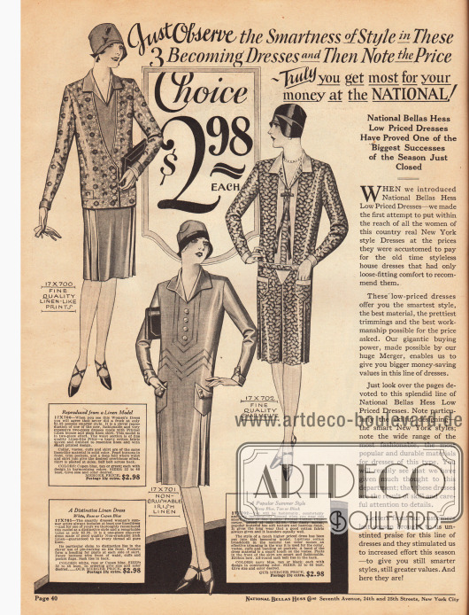 Drei schlichte Tages- und Haushaltskleider für je 2,98 Dollar aus leinenartigem Baumwollstoff, irischem Leinen und bedrucktem Baumwoll-Charmeuse. Das erste Kleid ist einteilig und zeigt einen jackenartigen Effekt. Quetschfalten, Biesen sowie aufgesetzte Taschen sind die Besonderheiten des zweiten Modells. Das dritte Kleid zeigt einfarbige Garnitur an Brust, Kragen und Taschen. Ein Schleife aus schmalem Band und tiefe Kellerfalten sind Charakteristika dieses Modells. Auf der rechten Seite weist National Bellas Hess darauf hin, dass gerade einfache Kleider und Haushaltskleid auf Grund der enormen Kaufkraft des Unternehmens und den daraus resultierenden niedrigen Preisen zu einem Verkaufsschlager in der vergangenen Saison geworden sind.