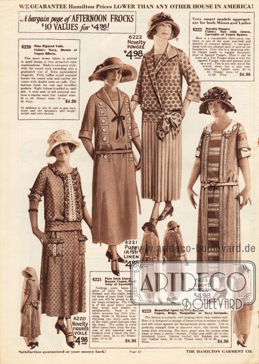 """Günstige Nachmittagskleider aus gemustertem Schleierstoff, reinem irischem Leinen, Seidengewebe (engl. """"pongee"""") oder sportlich gestreiftem Ratiné zum Einheitspreis von jeweils 4,98 Dollar.Alle Kleider besitzen halblange Ärmel. Das erste Modell zeigt Plisseerüschen an Brust, Ärmeln und aufgesetzten Taschen. An der Brust ein Einsatz aus Ecru Organdy. Hohlsäume und Perlmuttknöpfe hübschen das zweite Kleid auf. Das dritte Kleid ist dreiteilig und besteht aus einer gebundenen jackenartigen Bluse, die seitlich mit einer Schleife zusammengebunden ist sowie einem Plisseerock und einer Weste. Das vierte Kleid in geradlinigem Schnitt zeigt eine bestickte, weiße Garnitur aus Leinen."""