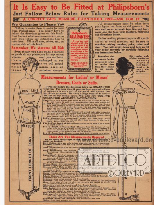 Seite mit detaillierten Anleitungen zum Maßnehmen von Damenkleidung, Kinderkleidung, Unterwäsche und Schuhen. Interessanterweise sind die Dame noch in der Vorkriegsmodeline gezeichnet und noch nicht überarbeitet worden.