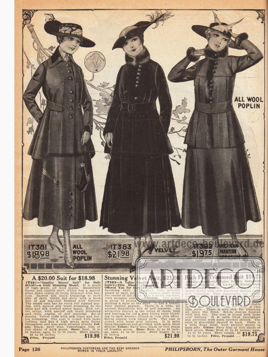 Seite mit Kostümen speziell für junge Frauen im Alter von 14 bis 20 Jahren. Die Kostüme sind aus Woll-Popelin und Samt (mittleres Modell). Das erste Modell zeigt einige Tressen an Jacke und Rock, während die folgenden beiden Modelle mit Pelz vom nordamerikanischen Fichtenmarder verbrämt sind.