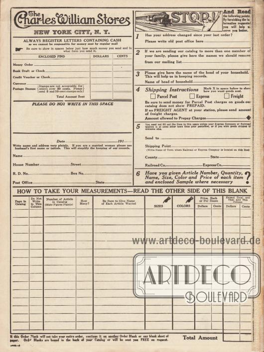 Bestellschein der Charles William Stores aus New York City, N. Y. Neben den gewünschten Artikeln und der Adresse musste hier auch die Zahlungsart oben links angeben werden. Oben rechts befinden sich zu beachtende Hinweise zur korrekten Bestellung.