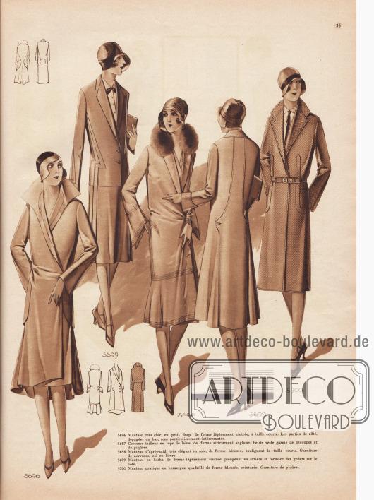 5696: Manteau très chic en petit drap, de forme légèrement cintrée, à taille courte. Les parties de côté, dégagées du bas, sont particulièrement intéressantes. 5697: Costume tailleur en reps de laine de forme strictement anglaise. Petite veste garnie de découpes et de piqûres. 5698: Manteau d'après-midi très élégant en soie, de forme blousée, soulignant la taille courte. Garniture de nervures, col en lièvre. 5699: Manteau en kasha de forme légèrement cintrée, plongeant en arrière et formant des godets sur le côté. 5700: Manteau pratique en homespun quadrillé de forme blousée, ceinturée. Garniture de piqûres.