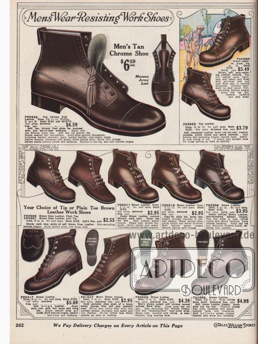 """""""Verschleißfeste Arbeitsschuhe für Männer"""" (engl. """"Mens Wear-Resisting Work Shoes""""). Widerstandsfähige, hochwertige Arbeitsschuhe und Straßenschuhe im Armeestil aus dunkelbraunen Kalbsledersorten sowie ein Modell aus braunem Kanevas. Die Schuhe zeigen dicke Sohlen (außer einem Modell) und decken auch die Knöchel ab. Schuhe mit glatten Kappen und leichten Perforationen und verstärkten Nähten. Viele Modelle sind Goodyear welted, also Rahmenvernäht."""