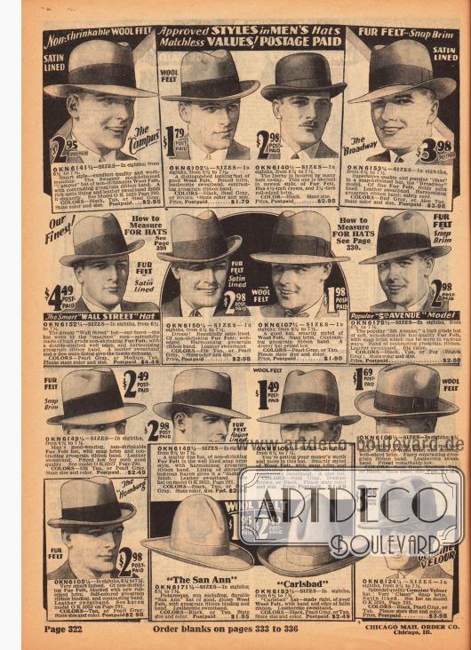 """Herrenhüte aus Wollfilz und auch Velours mit breiten Ripsbändern. Unter den Modellen sind Homburg Hüte (mit kurzer, dicker und nach oben gerollter Krempe), eine Melone (im Englischen """"Bowler hat"""" genannte mit runden Kopf) und in der Mehrzahl Fedora Hüte (mit dünner, breiter Krempe). In der Mitte im unteren Seitenbereich befinden sich außerdem zwei Cowboy Hüte (ein """"San Ann"""" und ein """"Carlsbad"""") ebenfalls aus Wollfilz."""