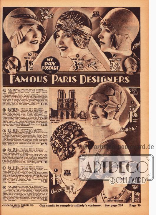 """Importierte Damenhüte mit Pariser Eleganz und Schick aus Wollfilz, Seiden-Samt und Rayon-Satin (H) sowie """"Rayon-Bengaline"""" (L). Die Filzhüte mit schmalen Krempen sowie die Kappen ohne Krempen sind zumeist schlicht mit Ripsbändern, metallischer Spitze (H), Applikationen aus dem gleichen Hutmaterial oder einer dezenten Fasanenfeder (G) garniert."""