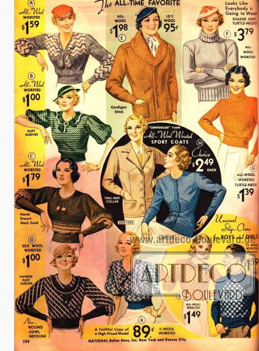 Sportjacken, wärmende Strickpullover mit Kragen und Wollpullover mit modischen Keulenärmeln und Puffärmeln für Frauen.