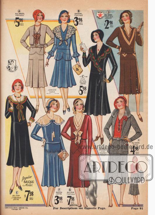 """(A) 4 B 6312 – BACKFISCH GRÖSSEN 13, 15, 17, 19 J.; 31, 33, 35, 37 Zoll Oberweite. Sie werden sich """"auf den ersten Blick verlieben"""" in dieses elegante und doch praktische Kleid aus reinem Woll-Kasha, mit sehr modischem Bolero vorne und Manschetten, die mit Schleifen umrandet sind sowie einer kontrastierenden Schleife aus glattem Seiden-Krepp. Eingelegte Geh- und Gegenfalten am Rock unterhalb der vorderen Hüftpasse. Glatter Rücken; Rundum-geführter Gürtel. Preisgünstig! FARBE: Naturgrau mit Braun (wie abgebildet). Bitte Größe und Farbe angeben. Siehe Kleiderlängen auf Seite 95. Sparpreis, frankiert… 5,98 $. (B) 4 B 6307 – BACKFISCH GRÖSSEN 13, 15, 17, 19 Jahre; 31, 33, 35, 37 Zoll Oberweite. Ein neumodisches Schößchen-Kleid mit altmodischem Charme – eine reizende, jugendliche Kreation aus glattem Rayon-Krepp, verblendet mit Baumwolle, mit kreisförmigem Schößchen über dem glockigen, mit Biesen verzierten Rock und passenden Glockenvolants an den Ärmeln. Die schlanke Taille wird durch einen bogigen, paspelierten Kragen aus Voll-Spitze betont, dessen Enden durch Knopflöcher geführt sind – neuartige Knöpfe. Seltener Wert. FARBEN: Königsblau mit Hellbraun oder Französisch Hellbraun mit hellerem Beige. Bitte Größe und Farbe angeben. Siehe Kleiderlängen auf Seite 95. Sparpreis, portofrei… 3,98 $. (C) 4 B 6291 – FRÄULEIN GRÖSSEN 14 bis 20 J.; nur 32, 34, 36, 38 Zoll Brustumfang. Kontrastierende Maschinenstickerei, eine Schleife aus dem Kleid-Material und Bänder waren alles, was dieses hübsche Prinzesskleid, das der jugendlichen Figur so sehr schmeichelt, brauchte, um es absolut bezaubernd zu machen. Aus hochwertigem, schwerem, reinen Seiden-Satin. Der Rock ist vorne glockig ausgestellt. Seitliche Bänder werden hinten gebunden. Reine Seide, schön und so preiswert. FARBEN: Schwarz oder Rubinrot (dunkles Weinrot). Größe und Farbe angeben. Siehe Kleiderlängen auf Seite 90. Sparpreis, frankiert… 5,98 $. (D) 4 B 6276 - FRÄULEIN GRÖSSEN 14 bis 20 Jahre; 32, 34, 36, 38 Zoll Brustumfa"""