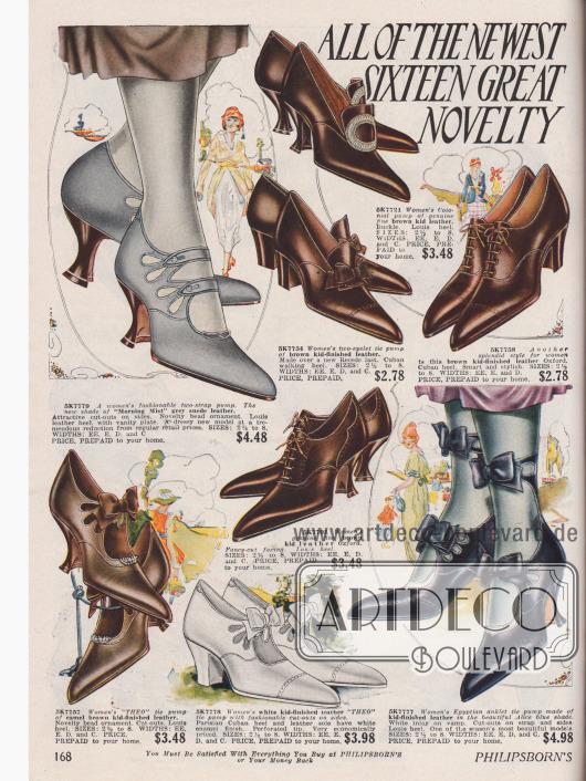 """Die Doppelseite mit Damenschuhen aus Ziegen-, Wild- und Veloursleder zeigt die beliebtesten Halbschuhe der frühen Zwanziger Jahre: relativ hoch geschlossene Oxfords (3 Modelle), Kolonialpumps mit Zierschnallen aus Metall (3 Paare), gewöhnliche Pumps mit Zierlasche (2 Paare), Pumps mit einer oder zwei Schnallen (7 Modelle) und ein """"Egyptian anklet"""" Paar, das mit einem hohen Knöchelriemchen geschlossen wird. Ziernähte, Perforationen, Schleifen und kleine Perlen geben Abwechslung."""