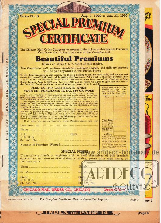 """""""Besonderes Prämien-Zertifikat"""". Alle Kunden, die innerhalb des 1. August 1929 und dem 31. Januar 1930 Bestellungen im Nettowert von 50 Dollar eingesendet haben, können sich kostenlos eine Prämie (also einen Artikel) von den Seiten 5, 6, 7 oder 8 aussuchen."""