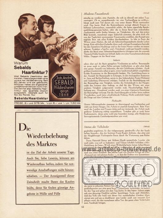 Artikel:O. V., Moderne Frauenberufe. Die Frau als Züchterin und Tierpflegerin&#x3B;Ebers, Fritz, Stätten der Volkslieder.Werbung:Sebalds Haartinktur,Die Wiederbelebung des Marktes (Eigenwerbung Verlag Gustav Lyon).