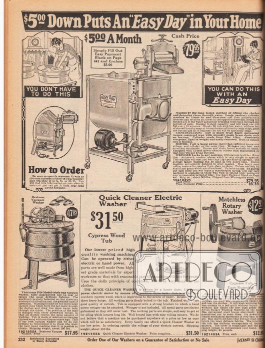 """Elektrisch und mechanisch betriebene Waschmaschinen für den Haushalt.Das obere Gerät der Marke """"Easy Day"""" ist aus Metall und Blech und hat im Inneren eine perforierte Metalltrommel. Oben befinden sich eine Wäschemangel zum Auswringen der Wäschestücke mit Wasserablauf, da die damaligen Waschmaschinen noch keinen Schleudergang besaßen. Die Maschine ist zum Barzahlungspreis von 79,95 oder zum Ratenkaufpreis von 89,95 Dollar mit 5,- Dollar Anzahlung erwerbbar (siehe Seite 441 mit Antrag auf Ratenzahlung).Unten befindet sich ein von Hand betriebener, mechanischer Waschbottich aus Zypressenholz mit drei Vakuumbechern, die den Waschvorgang durchführen. Daneben ist ebenfalls eine elektrische Waschmaschine aus Zypressenholz und als letztes ein Bottich mit mechanischem Drehrad."""