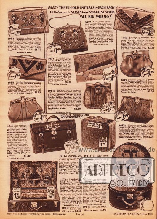"""Kuvert-Handtaschen, Geldbörsen und Handtaschen mit Rahmenverschluss aus Kuh- und Lammleder sowie Veloursleder. Einzelne Taschen sind aus unterschiedlichen Ledersorten hergestellt, so dass reizvolle Muster, moderne Motive oder klassische Ornamente entstehen. Unten befinden sich eine Aktentasche, zwei Reisetaschen sowie ein Hutkoffer. Die unteren beiden Modelle können """"fitted"""" oder """"unfitted"""" bestellt werden. """"Fitted"""" Koffer werden gegen Aufpreis in der Innenseite mit einem zehnteiligen Toilettenset ausgestattet."""