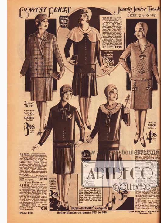 Tageskleider zu günstigen Preisen aus Rayon Krepp, Woll-Kasha, Rayon-Satin und Seiden-Satin sowie ein Kostüm aus Rayon und Woll-Tweed für junge Frauen zwischen 13 und 19 Jahre.