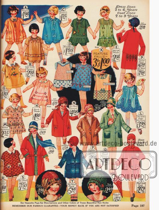 Sackartige Kleidchen mit Pumphöschen, Mäntel und Hüte für Mädchen.