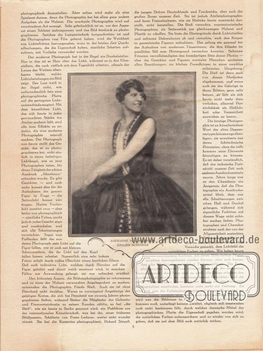 Artikel: Maibauer, Dr. Fritz, Moderne Bildnisphotographie. Die Fotoaufnahme im Zentrum der Seite zeigt eine Dame in einem Stilkleid. Foto: [Baron] M[ario] von Bucovich (1884-1947), Atelier Schenker.