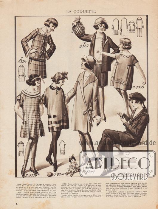 LA COQUETTE. J 8336: Gerades Kleid aus karierter Wolle für Mädchen von 8 bis 10 Jahren. Das Modell, das am Kopf übergestreift wird, wird in der Taille von einem einfachen Gürtel gehalten. Der Kragen und die Manschetten sind aus weißem oder rosa Georgette Krepp. Gebundene Schleife. Meterzahl: 1,40 m in großer Breite. J 8337: Complet bzw. Ensemble für Mädchen von 10 bis 12 Jahre. Faltenrock und Jacke aus marineblauem Gabardine, Bluse aus rosafarbenem Seidenjersey, der auch die Kragenkante bildet. Meterzahl: 3 m Gabardine und 1 m Jersey. J 8338: Englisches Kleid aus hellblauem Alpaka für Mädchen von 4 bis 6 Jahren. Das ärmellose Kleid hat eine runde Passe, die auf Maß geschnitten ist. Die Ränder sind gebördelt. Feine Falten über dem Rock mit Stickerei. Diese Stickerei wird am Halsausschnitt wiederholt. Meterzahl: 1,80 m in 80 cm Breite. Abplättmuster 1 Blatt. J 8339: Einfaches schwarz-weißes Alpakakleid für Mädchen von 8 bis 10 Jahren. Das Kleid ist mit einem Vorderteil geschnitten und hat einen gerafften Rock im Rücken. Doppelter Kragen aus weißem Georgette Crêpe mit farbigen Besätzen. Die Kimono-Ärmel haben zwei kleine schlichte Aufschläge aus dem gleichen Stoff wie der Kragen. Meterzahl: 2 m in großer Breite. J 8340: Englisches Kleid aus dunkelblauem Seidenjersey für Mädchen von 6 bis 8 Jahren. Raglanärmel, Gürtel durch den Stoff geführt. Kleiner gefalteter Kragen. Meterzahl: 1 m für das Kleid und 40 cm für die Borte. J 8341 (Niobe): Mantel aus Gabardine oder Stoff für Mädchen von 12 bis 14 Jahren. Das Modell ist vorne stark überkreuzt, schließt in einer bewegten Drapierung und präsentiert weiche Revers und einen Umlegekragen. Meterzahl: 2,50 m in großer Breite. J 8342: Matrosenanzug mit langer Hose für Jungen von 8 bis 10 Jahren. Die gerade Bluse ist mit Emblemen verziert. Der Kragen ist aus Satin mit weißer Borte. Meterzahl: 3 m in großer Breite. [Seite] 6