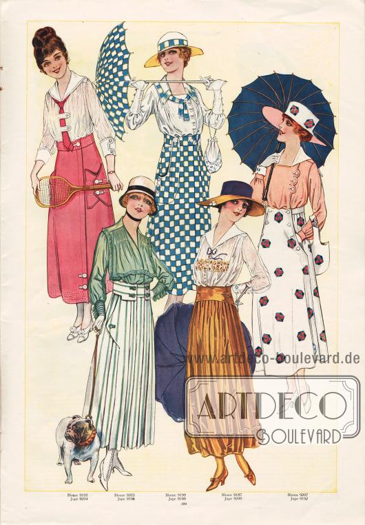 9195 & 9204: Zweiteiliges Kleid bestehend aus einer leichten, weißen Bluse und einem rosa Rock. Für die Bluse kann Ponge, Baumwoll-Schleierstoff, schachbrettartig gemusterter Stoff und für die Garnitur Taft, Waschsatin, Crêpe de Chine, Krepp Georgette, Marquisette, Seiden-Schleierstoff oder Spitze verwendet werden. Gabardine, Serge, Pikee, Rips oder Shantung sind für den Rock zu empfehlen.9203 & 9196: Eine grüne Bluse mit einem weiß-grün gestreiften Rock ergibt das Modell unten links. Krepp Georgette, Seiden Krepp, Tüll oder Seiden-Musselin wirken als Ausgangsstoffe für die Bluse besonders elegant. Für den Rock sind Flanell, Shantung, Ratiné, Gabardine oder Baumwoll-Popeline in unifarbener, gestreifter oder karierter Ausführung ideal.9199 & 9188: Für die Bluse des Blusenkleides in der Mitte oben wirken Seidenstoffe, Crêpe de Chine, Georgette Krepp, Waschsatin, Taft oder Batist besonders reizvoll. Für den Rock eignen sich unifarbene, karierte oder wie hier schachbrettartig gemusterte Flanells, Serge, Gabardine, Popeline oder Khakistoffe. Die Taschen sind groß und bogenförmig aufgesetzt.9187 & 9200: Die Bluse des Modells unten rechts kann aus zweifarbigem Baumwoll-Schleierstoff, Batist, Georgette Krepp oder Seiden-Musselin hergestellt werden. Auffällig am Rock dieses Modells ist der fast zwei geteilte Gürtel und unten angeknöpfte Rocksaum.9207 & 9192: Für die Bluse und den passenden Rock der Kombination rechts außen können Hemdstoffe aus Seide, Wolle oder auch Baumwolle verwendet werden. Der Rock kann entweder aus zwei oder drei Teilen erstellt werden. Dabei können großzügige Taschen eingearbeitet werden.