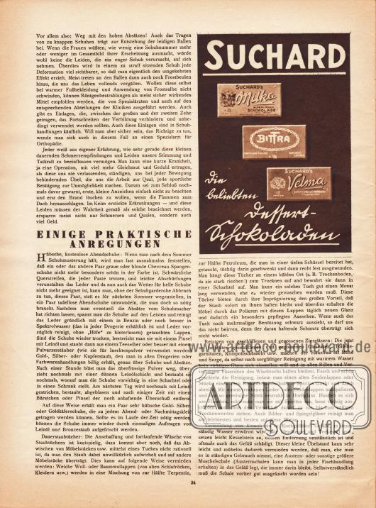 """Artikel:O. V., Fuss- und Beinpflege&#x3B;o. V., Einige praktische Anregungen.Werbung:Suchard – """"die beliebten Dessert-Schokoladen"""", Milka, Bittra und Velma."""