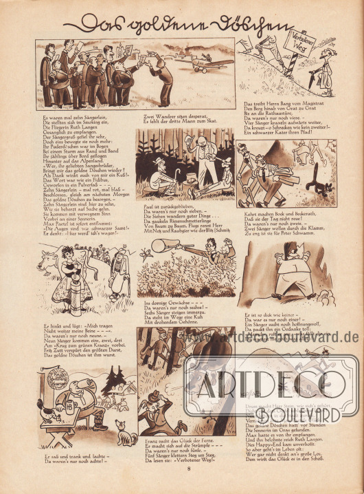 Artikel (Reim): O. V., Das goldene Döschen. Zeichnungen/Illustrationen: Hans Kossatz (1901-1985).