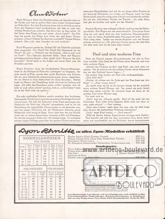 Artikel: O. V., Anekdoten; o. V., Paul und eine moderne Frau. Information und Konditionen zu den Lyon Schnittmustern, den Normalgrößen und Abplättmustern.