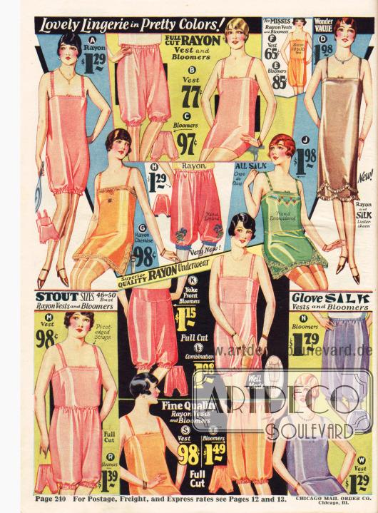 Unterwäsche: Hemdhosen, Unterröcke und Pumphöschen für die Dame.