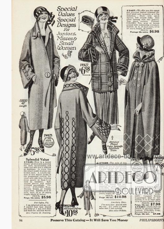 Doppelseite mit fünf Frühjahrsmänteln, einer Jacke und zwei Umhängen für junge Frauen von 13 bis 19 Jahren aus Woll-Polostoff, Woll-Velours und Woll-Polo Jacquette. Besonders die Mäntel, die aus neutralem Stoff und nicht in sich gemustert sind, sind zusätzlich mit flächigen Stickereien versehen. Zierknöpfe, glockig weite Ärmel und hochgeschlagene Stehkragen sind obligat.
