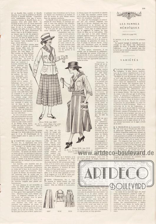 Artikel:O. V., Préparations la garde-robe des vacances. Trio de charmants costumes&#x3B;O. V., Les femmes héroïques. Dévouement d'une jeune Irlandaise&#x3B;O. V., Variétés.Mit den Abbildungen zweier Blusen mit passenden Röcken.
