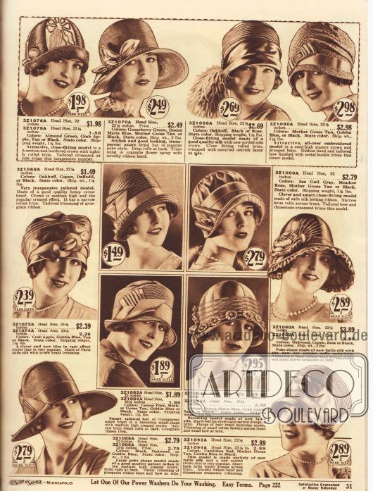 """Damenhüte aus halbtransparentem Azure Stroh, Seide, Hanf, Faille Seide oder Milan Stroh. Die Hüte sind aufgeputzt mit Ripsbändern, flächigen Stickereien, künstlichen Blüten aus Organdy, seitlichen Quasten aus Straußenfedern, Metallschnallen, Strass, Hutnadeln, Applikationen aus Stroh, Blumen aus Samt, Netzgewebe oder auch durch eine Rüsche an der Krempe.Die Hutformen zeigen rundlich geformte, enganliegende Glocken, zylindrische Köpfe mit Kniff, überlappende, weiche Köpfe in Form einer Schottenmütze (engl. """"Tam-o-Shanter""""), breitrandige Sommerhüte oder auch mittelweite Krempen, die in Form von Schuten gebogen sind."""