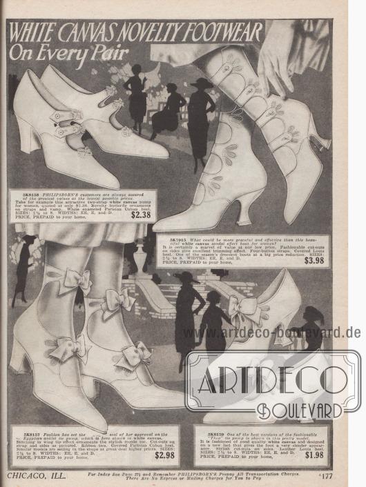 """Doppelseite mit weißen Leinenschuhen für die warmen Sommertage 1921. Schuhe mit Schnalle (drei Modelle), Doppelschnalle (ein Paar), Kolonialpumps sowie """"Egyptian anklet tie pumps"""" (zwei Paare) und eine Neuinterpretation eines römischen Sandalenstiefels mit jeweils vier Schließen zeigen die aktuelle Mode. Kleine Schleifen, Metallschnallen, Perforationen und dezenten Perlenapplikationen geben jedem Paar die individuelle Note."""