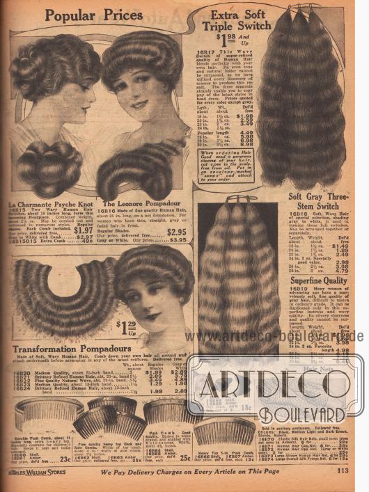 Haarteile, Haarsträhnen, Haarknoten aus dauergewelltem, menschlichen Echthaar zum Anreichern der Damenfrisur. Die Haarsträhnen rechts sind in den längen 18 bis 30 Inch (45,7 bis 76,2 cm) erhältlich, darunter sind auch Strähnen in superfeiner Qualität. Graues und weißes Haar ist für einen höheren Preis ebenfalls erhältlich. Unten auf der Seite sind dekorative Haarkämme, Haarnadeln und ein Haarnetz im Angebot.