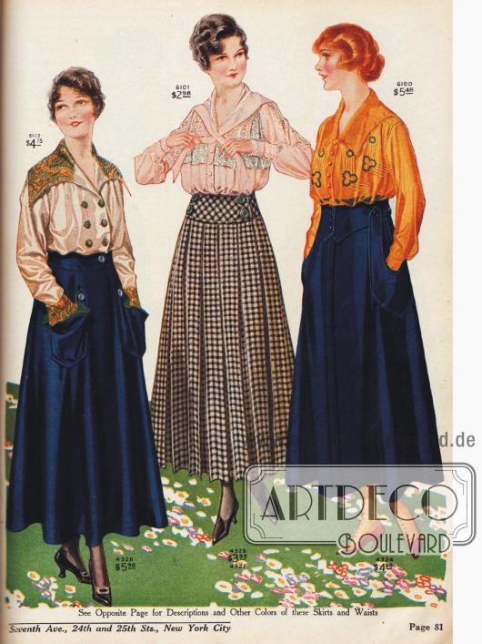 Röcke mit passenden Kleiderblusen. Auffällig ist der breit eingearbeitete Gürtel im Rockteil, geräumige Taschen, die Verarbeitung großer Knöpfe und die ausladenden Röcke - ab und zu auch plissiert.