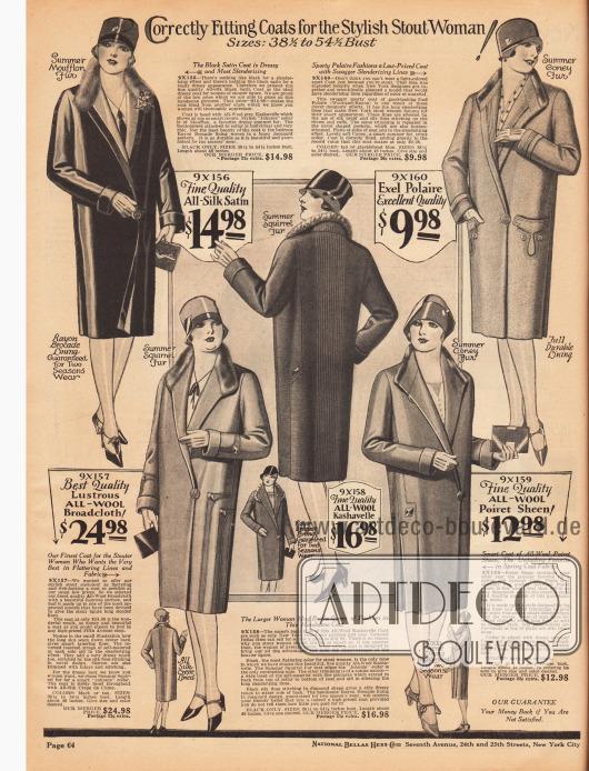 """""""Exakt passende Mäntel für die modische, vollschlanke Dame!"""" (engl. """"Correctly Fitting Coats for the Stylish Stout Woman!"""").Die Frühjahrsmäntel sind aus Seiden-Satin, """"Exel Polaire"""" (ein Wolle und Rayon Gewebe), matt glänzendem Woll-Breitgewebe, Woll-Kasha sowie Poiret Wolle. Zur Verbrämung wurden Mufflon (Wildschaf), Kaninchen und Eichhörnchen verwendet."""