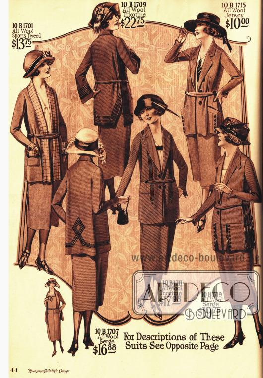 Kostüme aus Tweed, Wolle und Jersey.