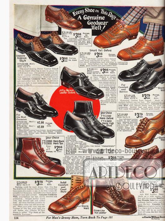 Elegante Herrenschuhe aus Lackleder für die Stadt oder das Büro. Solidere Schuhe finden sich unten im Bild.