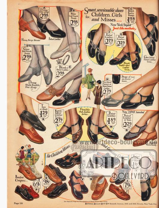 """Schuhe mit niedrigen Absätzen für kleine Mädchen und junge Damen von 2 bis 13 Jahren. Die Schuhe im oberen Bildteil ähneln schon sehr den Schuhen für erwachsene Damen. Die Schuhe sind aus Rindsleder, Chevreauleder (Ziegenleder), Lackleder und auch Satin und werden gerne mit reptilienartig genarbten Ledersorten kombiniert. In der Mitte rechts befindet sich ein """"Toyo"""" Sandalenschuh. Im unteren Seitenbereich sind die Schuhe mit flachen Sohlen für junge Mädchen."""