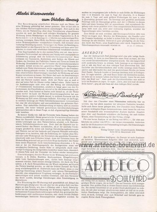Artikel:Lehmann, Dr. jur. E., Allerlei Wissenswertes zum Oktober-Umzug&#x3B;O. V., Anekdote&#x3B;Verlag Gustav Lyon, Charakter und Handschrift.
