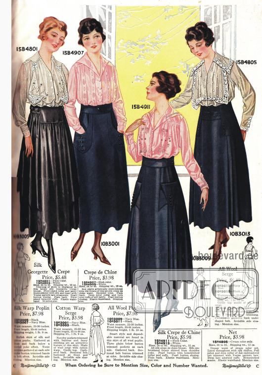 Röcke und Blusen. Die Blusen sind teilweise mit Spitzenstoff verziert.