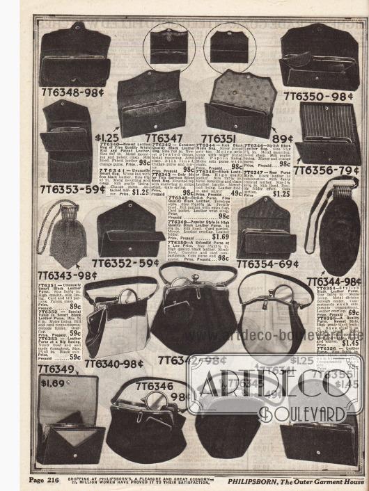 Doppelseite mit Geldbörsen für Damen, Handtaschen aus Leder mit Metallrahmen und Verschluss und auch eine silberne Metallnetztasche aus deutscher Produktion sind im Angebot (Mitte, äußerer linker Bildrand). Die Preise fangen bei 49 ¢ und reichen bis 1,98 Dollar.