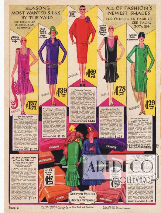 Seidenstoffe für feine Kleider in lebendigen Farben.