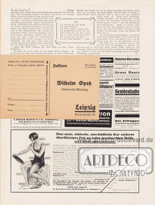 Lose Beilage in der Zeitschrift:Postkarte (Maße: 14,5 x 9,5 cm / 5,71 x 3,54 in) zum Bestellen von Schnittmustern, adressiert an die Schnittmuster-Abteilung des Verlages in Leipzig, Brüderstraße 61.