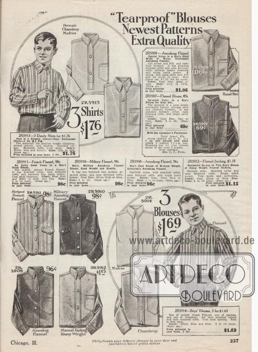"""""""'Reißfeste' Hemden – Neueste Muster – Extra Qualität"""" (engl. """"'Tearproof' Blouses – Newest Patterns – Extra Quality""""). Arbeitshemden und Anzughemden für 6 bis 16-järhige Jungen. Die Hemden sind aus unifarbenen oder gestreiften Stoffen wie Perkal, Chambray, Madras, Flanell, Amoskeag Flanell (Gewebe der Amoskeag Manufacturing Co. in Manchester, New Hampshire, USA) sowie französisch gestreiftem oder militärischem Flanell. Alle Hemden sind mit einer praktischen Brusttasche versehen."""