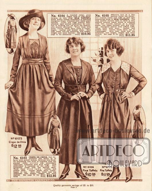 Dezente und schlichte Straßenkleider der mittleren Preisklasse aus Crêpe de Chine und Seiden-Taft. Das dritte Kleid zeigt einen Spitzenkragen und Ärmelaufschläge aus Spitze sowie einen überlappenden Blusenteil. Die Preise liegen zwischen 10,95 und 12.95 Dollar.