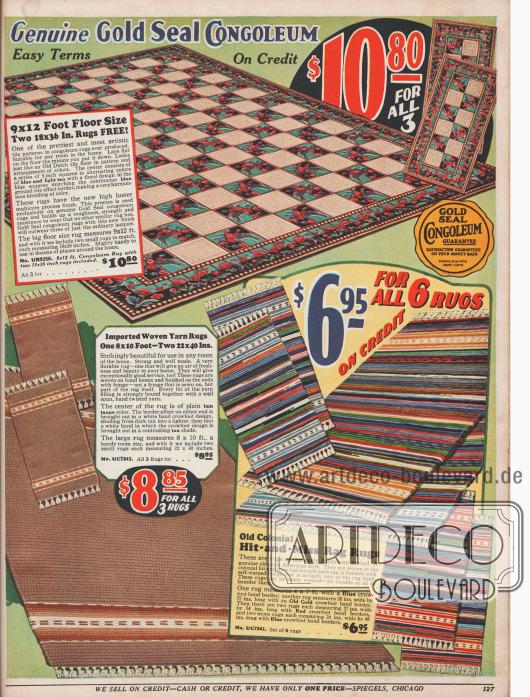 """Drei Bodenbeläge zum Preis von 10,80 Dollar, bestehend aus einem großen Linoleumteppich von 9 x 12 ft (274,3 x 365,8 cm) und zwei kleinen Linoleumteppichen mit den Maßen 18 x 36 in (45,7 x 91,4 cm). Dieses als """"Congoleum"""" bezeichnete Linoleum wurde von der Firma desselben Namens in New Jersey hergestellt.Im unteren Teil des Bildes befinden sich gewebte Teppiche, ebenso drei oder auch sechs zu einem Preis. Es sind handgewebte Teppiche, die rechten sind im Kolonialstil gearbeitet."""
