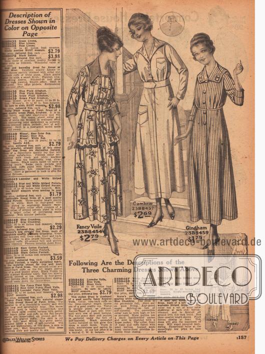 """Zwei schlichte Haushalts-, Veranda- oder Gartenkleider (engl. """"porch dresses"""") aus mit Blumen gemustertem Voile (Schleierstoff) und gestreiftem Gingham sowie ein Kleid aus weißem Batist oder blauem Chambray für Krankenschwestern. Die Mantelkleider besitzen verdeckte und auch sichtbare Knopfleisten zum einfachen Anziehen. Die Haushaltskleider zeigen dreiviertellange Ärmel und das Kleid für Krankenpflegerinnen je eine große und eine kleine Tasche. Das erste Modell ist mit Rüsche am Jackensaum und farblich abstechender Garnitur aufgeputzt."""