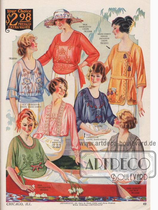 Sieben Damenblusen für jeweils 2,98 $ aus Seiden-Georgette Krepp, japanischer Seide und anderen Seiden. Die Blusen sind aufwendig handbestickt oder werden mit Spitze oder Rüschen belebt.